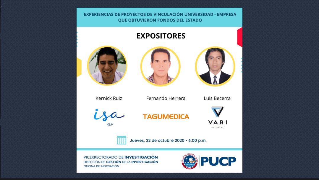 "Evento de reconocimiento PUCP: ""Experiencias de empresas ganadoras de fondos Innóvate Perú"""