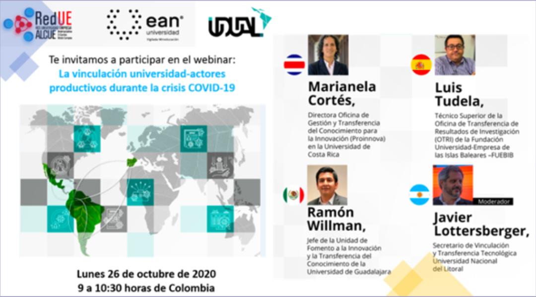 """Invitación a participar en el Webinar """"La vinculación universidad-actores productivos durante la crisis COVID-19"""""""